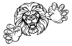 Mascotte de Lion American Football Ball Sports illustration de vecteur
