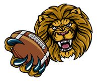 Mascotte de Lion American Football Ball Sports Illustration Libre de Droits
