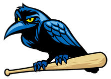 Mascotte de Raven et la batte de baseball Illustration Libre de Droits