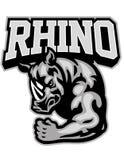 Mascotte de rhinocéros montrant son bras de muscle illustration libre de droits