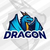 Mascotte de sport de LDragon Logotype du football ou de base-ball Insignes de ligue d'université, vecteur d'équipe d'école Photo stock