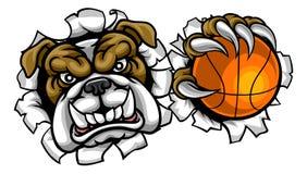 Mascotte de sports de basket-ball de bouledogue illustration stock
