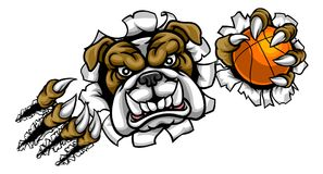 Mascotte de sports de basket-ball de bouledogue Image stock