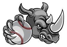 Mascotte de sports de boule de base-ball de rhinocéros Photographie stock