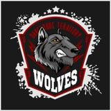 Mascotte de sports de loups Loup d'hurlement illustration stock