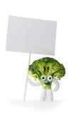 Mascotte dei broccoli che tiene carta in bianco Fotografia Stock