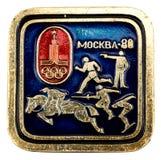 Mascotte dei giochi olimpici di Mosca del distintivo I giochi olimpici erano dentro Fotografia Stock Libera da Diritti