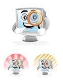 Mascotte del calcolatore - lente d'ingrandimento Fotografie Stock