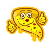 Mascotte del carattere della pizza del fumetto con i pollici su illustrazione vettoriale