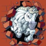 Mascotte del cavallo bianco che si schianta attraverso l'illustrazione di vettore della parete Fotografia Stock