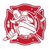 Mascotte del combattente di fuoco del bulldog Fotografia Stock Libera da Diritti