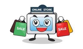 Mascotte del computer del fumetto di acquisto online con la borsa di vendita di acquisto Progettazione di carattere Illustrazione Fotografia Stock
