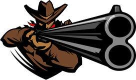 Mascotte del cowboy che mira l'illustrazione del fucile da caccia Immagine Stock Libera da Diritti