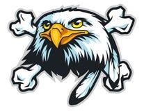 mascotte del fumetto della testa dell'aquila calva può usare per il logo di sport Fotografie Stock