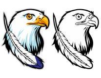 mascotte del fumetto della testa dell'aquila calva può usare per il logo di sport e l'illustrazione della maglietta Immagini Stock Libere da Diritti