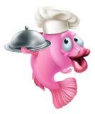 Mascotte del pesce del cuoco unico del fumetto Immagini Stock Libere da Diritti