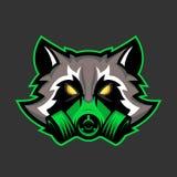 Mascotte del procione della maschera antigas, sport o emblema di logo di procione lavatore dei esports illustrazione vettoriale