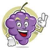 Mascotte deliziosa dell'uva Vettore del carattere dell'uva Logo dell'uva Fotografia Stock