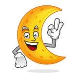 Mascotte deliziosa della luna, carattere della luna, vettore del fumetto della luna Fotografia Stock