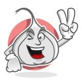 Mascotte dell'aglio di pace, carattere dell'aglio, fumetto dell'aglio Fotografie Stock