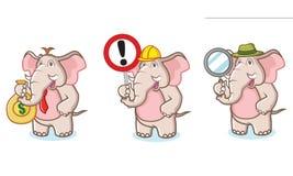 Mascotte dell'elefante di Brown con soldi Fotografia Stock Libera da Diritti