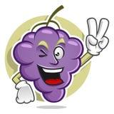 Mascotte dell'uva di pace Vettore del carattere dell'uva Logo dell'uva Immagine Stock