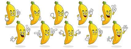 Mascotte della banana, insieme di vettore dei caratteri della banana Logo della banana Fotografia Stock