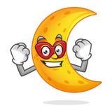 Mascotte della luna del supereroe, carattere della luna del supereroe, fumetto della luna Fotografia Stock Libera da Diritti