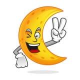 Mascotte della luna di pace, carattere della luna di vittoria, vettore del fumetto della luna, Fotografia Stock