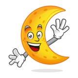 Mascotte della luna di saluto, carattere della luna, vettore del fumetto della luna Immagine Stock