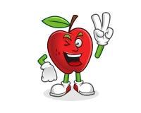 Mascotte della mela di pace Vettore del carattere di Apple Logo di Apple Fotografia Stock Libera da Diritti