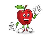 Mascotte della mela di saluto Vettore del carattere di Apple Logo di Apple Immagini Stock