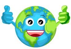 Mascotte della terra del globo con i pollici in su Fotografie Stock Libere da Diritti