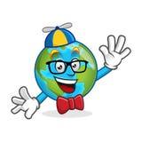 Mascotte della terra del nerd, carattere della terra del geek, vettore del fumetto della terra Immagine Stock