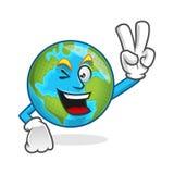 Mascotte della terra di pace, carattere della terra di vittoria, vecto del fumetto della terra Immagine Stock Libera da Diritti
