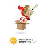Mascotte di consegna Vettore di progettazione di massima di trasporto Immagine Stock Libera da Diritti