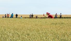 Mascotte di Vittel in un Tour de France 2015 del giacimento di grano immagini stock
