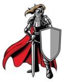 Mascotte diritta del cavaliere royalty illustrazione gratis