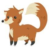 Mascotte drôle plate de renard de bande dessinée de vecteur illustration de vecteur