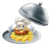 Mascotte e chip dell'hamburger sul vassoio Fotografia Stock