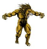 Mascotte effrayante de sports de lion Image libre de droits