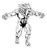 Mascotte effrayante de sports de lion Photo stock