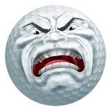 Mascotte fâchée de bande dessinée de sports de boule de golf illustration de vecteur