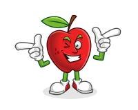 Mascotte géniale de pomme de style Vecteur de caractère d'Apple Logo d'Apple illustration stock