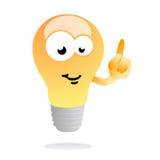 Mascotte luminosa della lampadina di idea Fotografia Stock Libera da Diritti