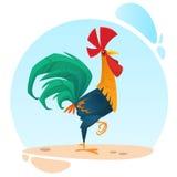 Mascotte mignonne de coq de bande dessinée de vecteur Illustration d'un coq coloré se tenant sur une jambe Photos stock