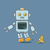 Mascotte mignonne de robot et de banane d'isolement sur le fond bleu Image libre de droits