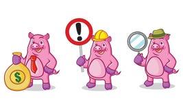 Mascotte porpora del maiale con il segno Fotografia Stock