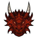 Mascotte principale de dragon dans le style de mosaïque de couleur Photos stock