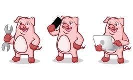 Mascotte rosa del maiale con il telefono Fotografie Stock